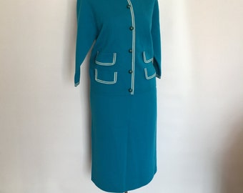 1960's MOD Wool Two Piece Sweater Suit in Aqua Gina Teresa Made in Italy