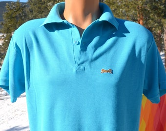 vintage 80s LE TIGRE golf polo shirt teal blue green Large XL letigre collar preppy soft