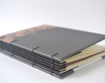 Black & Copper Hand Bound Coptic Journal, Hard Cover Journal