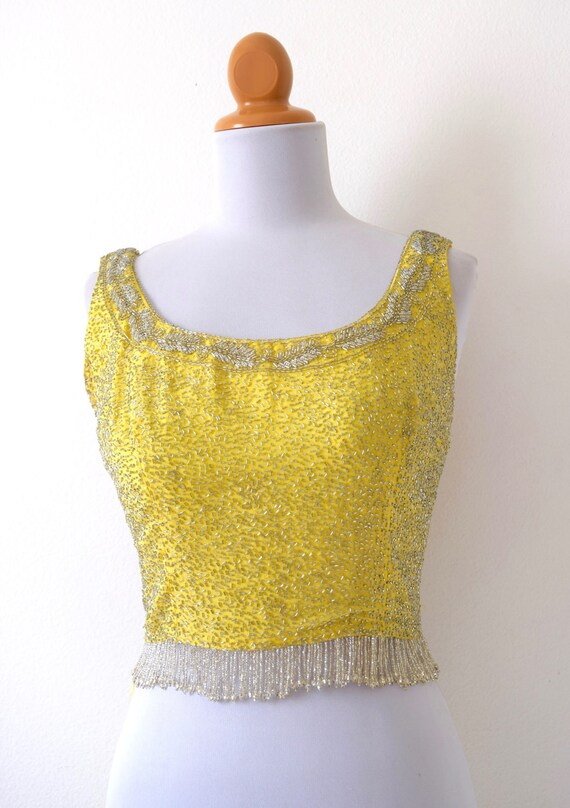 SPRING SALE/ 20% off Vintage 60s Canary Yellow Beaded Scoop Neck Crop Top (size xs, small)