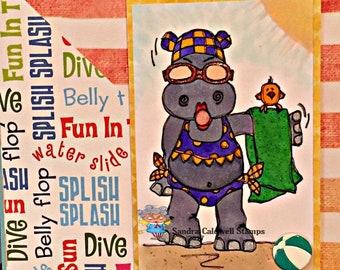1474 Hippo Sunbathing Digi Stamp