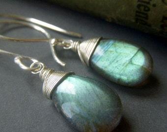 Labradorite Earrings Sterling Silver, Flashy Briolette, Wirewrapped Blue Labradorite Earrings, Simple Gemstone Teardrop Dangle
