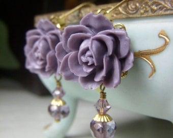 Lavender Floral Earrings, Brass Dangle, Purple Flower Earrings, Floral Cabochon Romantic Vintage Inspired