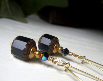 Black Earrings on Brass, Vintage Style Earrings, Czech Glass Dangle, Black Cathedral Earrings, Czech Glass Beads, Glass Dangle Earrings