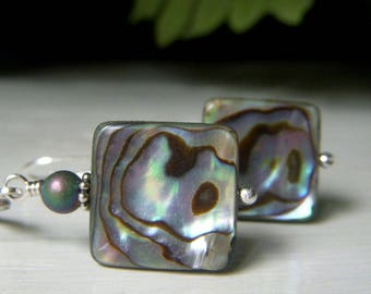 Square Abalone Sterling Earrings, Paua Shell Jewelry Peacock Color Earrings Sterling Leverback, Lightweight Earrings, Rainbow Color Earrings