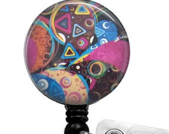 Colorful Abstract Design Badge Holder, ID Badge Reel   323