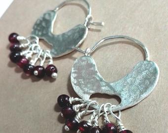 Silver Garnet Hoop Earrings, Beaded Hoops, Hammered Sterling Silver, Crimson Stone Earrings