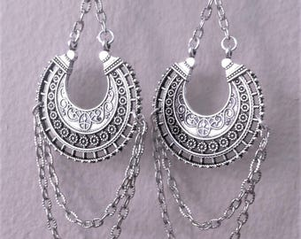 Boho Gypsy Earrings Style Jewelry  Bohemian Silver Hoop Belly Dance Earrings Tribal Fusion Dance Jewelry Stevie Nicks Inspired Jewelry