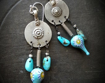 Kuchi Earrings, Banjara Jewelry, Lampwork Glass, Turqoise, Vintage, Unique, Organic, Primitive, Stamping, Recycled, Beaded Earrings