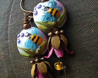 Flowers, Lampwork Glass, Bumblebee, Copper Flowers, Vintage, Vintage Findings, Artisan Made, Earthy, Organic, Beaded Earring
