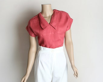 Vintage 1950s Linen Blouse - 1940s Maroon Watermelon Pink Folded Collar Fitted Casual Top - Medium