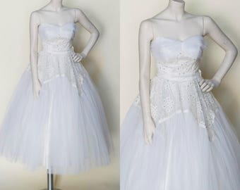 Vintage Tea Length Wedding Dress --- 1950s Strapless Dress