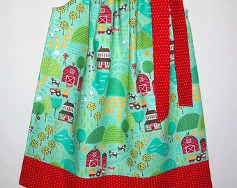 Pillowcase Dress Moda's Farm Fun Pond Blue Country Dress Farm Dress Summer Dress with Farm Animals Farm Dresses Farm Life Farm Birthday