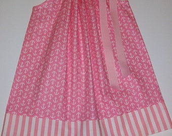 Pillowcase Dress with Anchors Nautical Dress Anchors Dress Pink and White Beach Party Summer Dresses Sister Dresses Spring Dresses for Twins