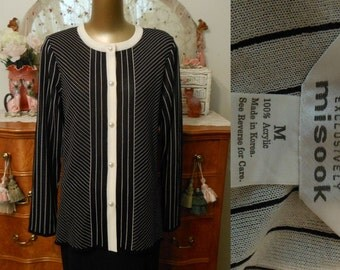 Vintage 90s Exclusively Misook Cardigan Jacket, 1990s Black and Off White Stripe Jersey Knit Cardigan, Size M to L