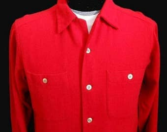 Vintage 60s Mens Pendleton RED Board Shirt, 1960s Button Down Wool Shirt - Made in Usa - Size M Medium