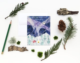Camping Christmas Card / Christmas Card / Holiday Card / Winter Camping Card / Northern Lights / Watercolor Christmas Card / Mountains