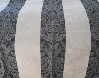 Elegant Black and Neutral Linen Medallion Fabric Upholstery Home Decor 1 yard Stripe