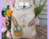 Primitive Doll, Tabby Cat ,Happy Easter Easter egg, Easter doll,Cat with Easter basket, cat ornament, kitty with Easter Basket,handmade doll