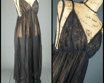 sheer chiffon nightgown vintage nylon gown lace bodice sultry black 70s sweeping lingerie small s sexy see through naughty maxi nightie