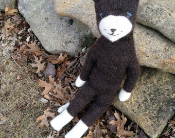 Cosmic Cat, Tuxedo Kitty Doll, Knit Cat Doll