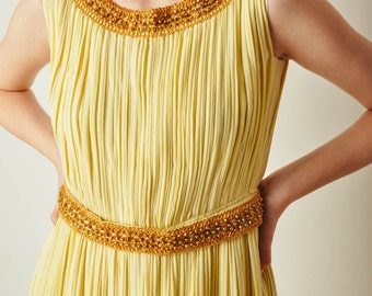 Vintage Yellow Accordion Pleat Dress