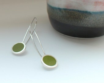 Pesto Green Earrings - Long Green Drop Earrings - Round Silver Earrings - Colorful Earrings - Gift for Her