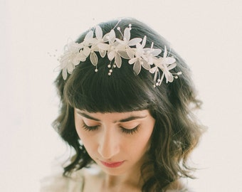 White floral headband, Vintage lily bridal headpiece, Bridal hair flowers, Sheer flower band, Pearl and tulle flowers, Whimsical bridal hair