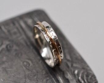 Narrow stars textured minimalist spinner ring copper, argentium silver, gold filled, bronze