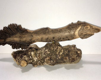Carved Driftwood Prehistoric Fish Sculpture ~ Folk Art ~ Palm Tree