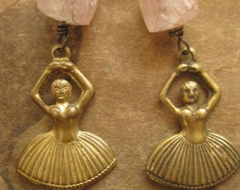 tiny dancers ~ brass stampings gemstone dangles