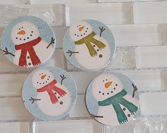 "Happy Snowmen 1.5"" Sticker Set or Envelope Seal Stickers, Light Blue"