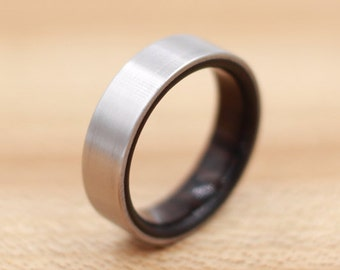 Titanium Ring Lined with African Blackwood - Wedding Band - Unique Wedding Ring - Wood Titanium Ring