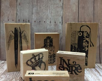 Rubber Stamp Lot, Crown, Inspire , Hope , Gifts , DIY, Craft Stamps, Rubber Stamps , Instant collection