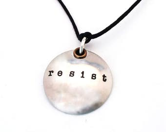 RESIST NECKLACE - Sterling Silver Domed Resist Jewelry - Political Necklace - Protest Jewelry - Adjustable Cotton Cord Necklace - Free Ship