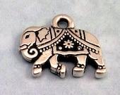 TierraCast Gita Elephant Charm, Antique Silver 2 Pc. TS40