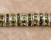 Silver Rhinestone Rondelle Spacer, 6 mm, Olivine Green, 12 Pc. C471