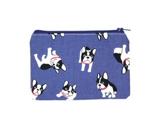 CHOOSE SIZE French Bulldog Zipper Pouch / Boston Terrier Cute Camera Bag with Polka Dots