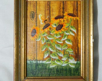 Miniature Oil Painting , Sun Flowers, Garden, Fence, Butterfly, Flowers, Wild Flowers, Gold Frame