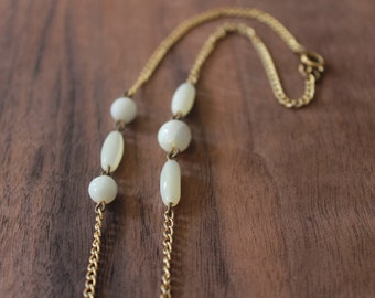 vintage 1970s gold and ivory necklace • 70s gold chain necklace • white opal beaded necklace • minimalist jewelry