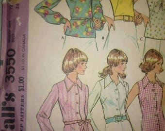 Vintage 70s Sewing Pattern McCall's 3550 Women's Blouses Shirts