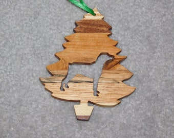 Wood Christmas Tree Dog Ornament -  Doberman