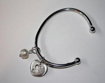 Silver Clay Inital Bracelet