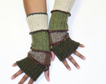 Fingerless Gloves, Armwarmers, Brown and Olive(Deep Olive/Patched Heather Brown,Ochre/Med Olive/Light Putty) by Brenda Abdullah
