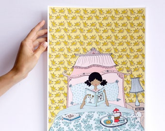 Print - Les petites - breakast in bed - cara carmina - - illustration - - 10.6 x 13.8 inches - Fabriano paper