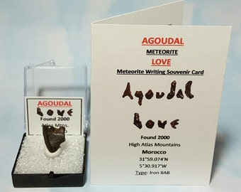 Meteorite LOVE AGOUDAL Natural Heart Shape Meteorite In Medium Large Display Box With Meteorite Writing Card Found 2000 Morocco