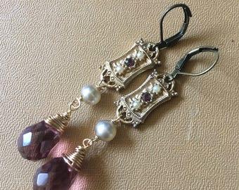 Always Purple Amethyst Gold Pearl Vintage Repurposed Earrings Jewelry