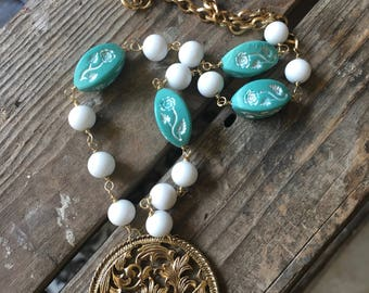 Blooms Vintage Jewelry Necklace Repurpose Gold Medallion Floral Turquoise White Round