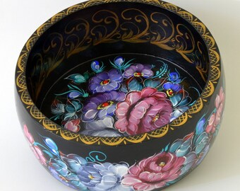 Painted Bowl - Hand Painted Bowl - Russian Zhostovo Style