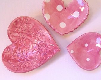 Pink pottery Heart Dishes -- 3 piece set -- polka-dot ceramic ring dish set, candleholder, soap dish, with floral heart